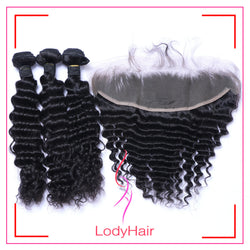 Brazilian Deep Wave 3 Bundles With 1 13x4 Lace Frontal Human Hair-lodyhair