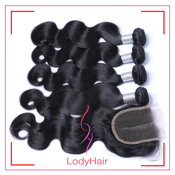 Brazilian Body Wave 4 Bundles With 4x4 Lace Closure Human Hair-lodyhair