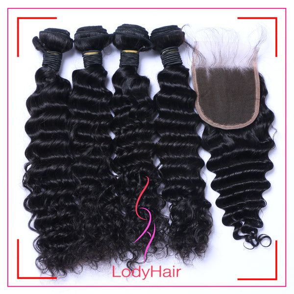 Brazilian Deep Wave 4 Bundles With 4x4 Lace Closure Human Hair-lodyhair
