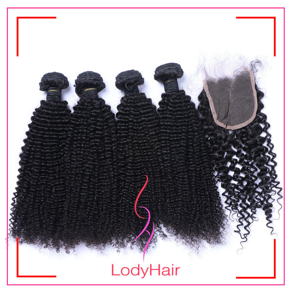 Brazilian kinky curly 4 Bundles With 4x4 Lace Closure Human Hair-lodyhair