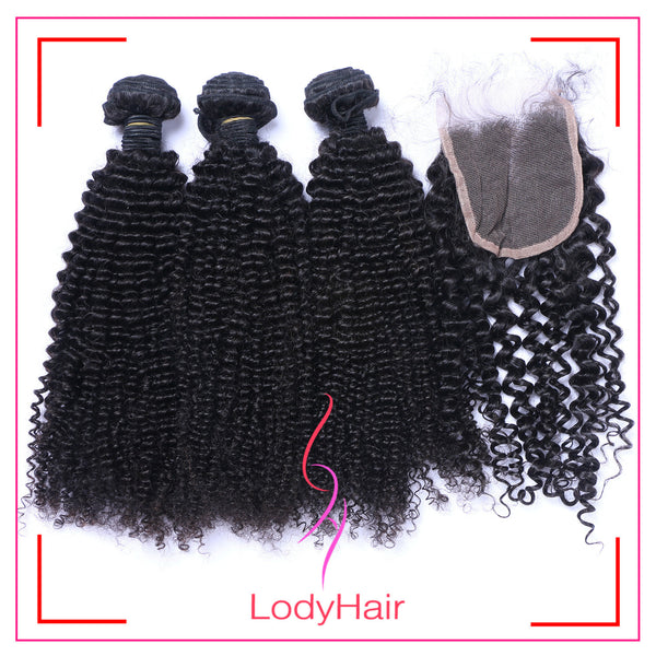 Brazilian Kinky Curly 3 Bundles With 1 4x4 Lace Closure Human Hair-lodyhair