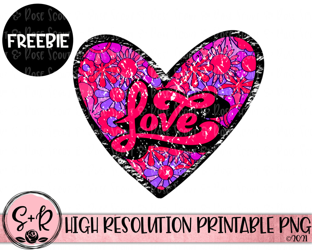 FREE PNG - Retro LOVE Heart