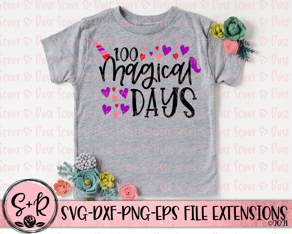 100 Magical Days SVG DXF PNG EPS (2018)