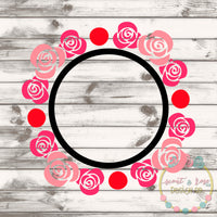 Rose Monogram Frame SVG DXF PNG