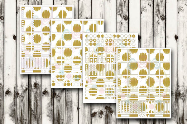 Mustard Yellow Dot Planner Stickers SVG DXF PNG