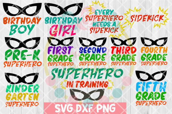 Superhero Bundle SVG DXF PNG 12 Cutting Files
