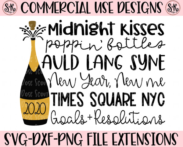 New Year 2020 Words SVG DXF PNG (2019)
