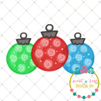Handpainted Christmas Ornaments PNG Printable Design