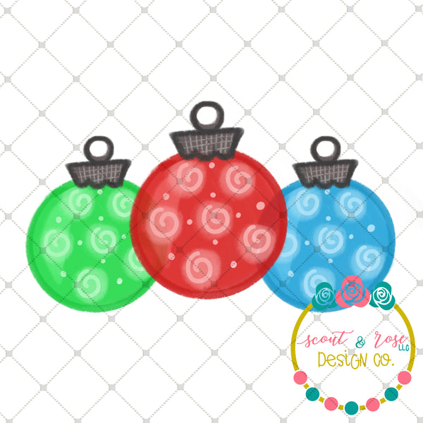 Handpainted Christmas Ornaments PNG Sublimation Design