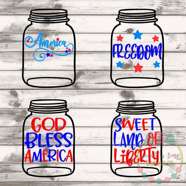 Patriotic Mason Jar Rolled Flower Set SVG DXF PNG