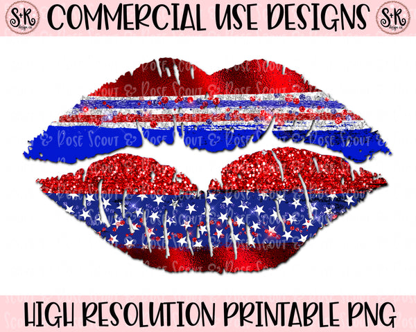 Metallic Patriotic Lips Printable Design (2020)