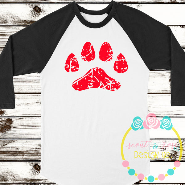 Grunge Paw SVG DXF PNG