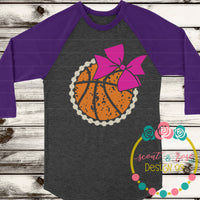 Grunge Basketball with Bow SVG DXF PNG