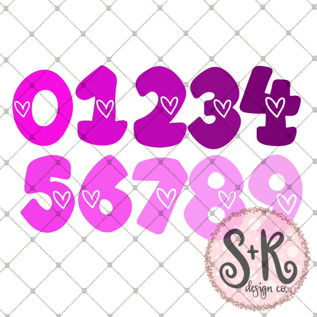 Bubbly Number Set SVG DXF PNG