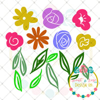 Design Your Own Floral Banner Set SVG DXF PNG