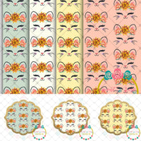 Floral Kitty Printable DESIGNER Clip Art/Paper Digital Set