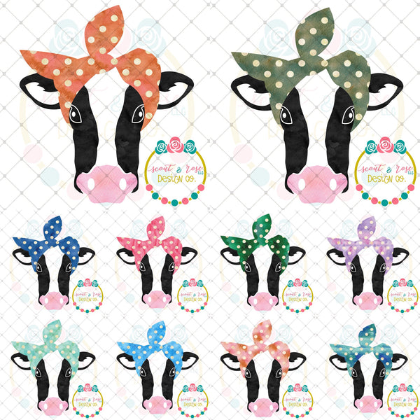 Bandana Cow Printable Design Set (2018)