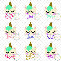 Unicorn Birthday Set SVG DXF PNG
