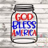 God Bless America Mason Jar Rolled Flower Set SVG DXF PNG