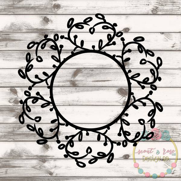 Vine Wreath Monogram Frame SVG DXF PNG
