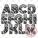 Hand Drawn Zentangle Alphabet Letters A-Z SVG DXF PNG (2019)