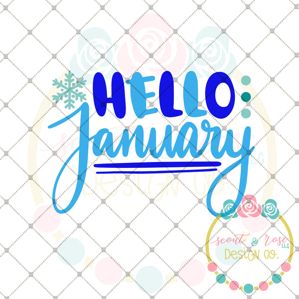 Hello January SVG DXF PNG