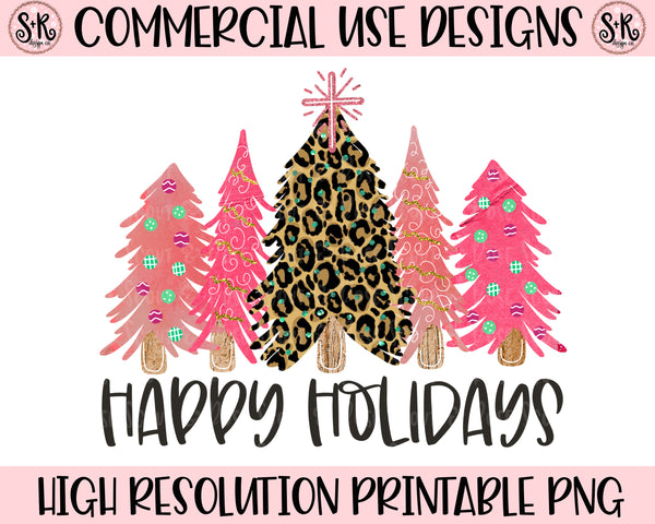 Happy Holidays Trees Printable Design (2019)