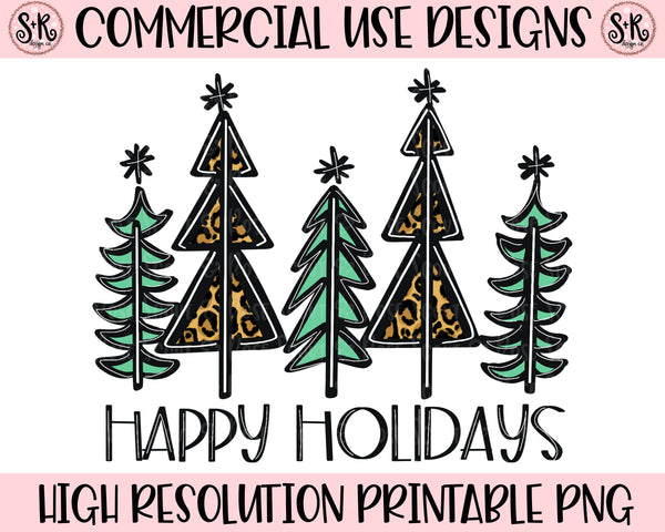 Happy Holidays Trees Printable Design (2020)