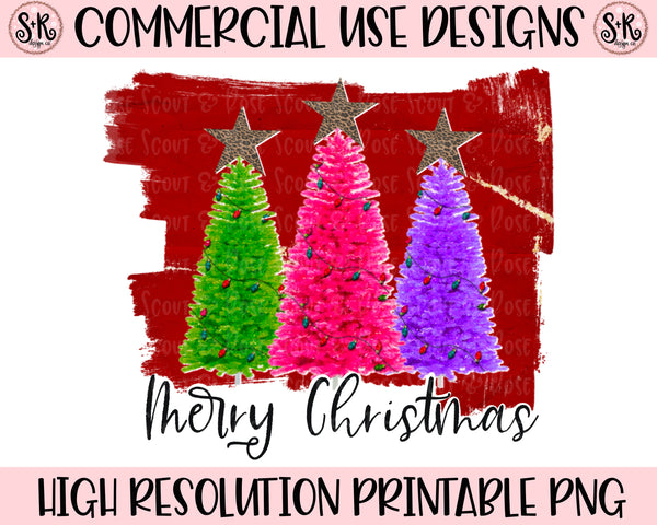 Merry Christmas Funky Trees Printable Design (2020)