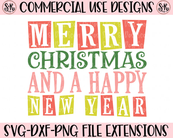 Retro Merry Christmas and Happy New Year SVG DXF PNG (2019)