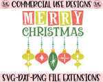 Retro Merry Christmas Ornaments SVG DXF PNG (2019)