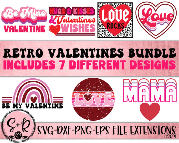 Retro Valentines Bundle SVG DXF PNG (2021)