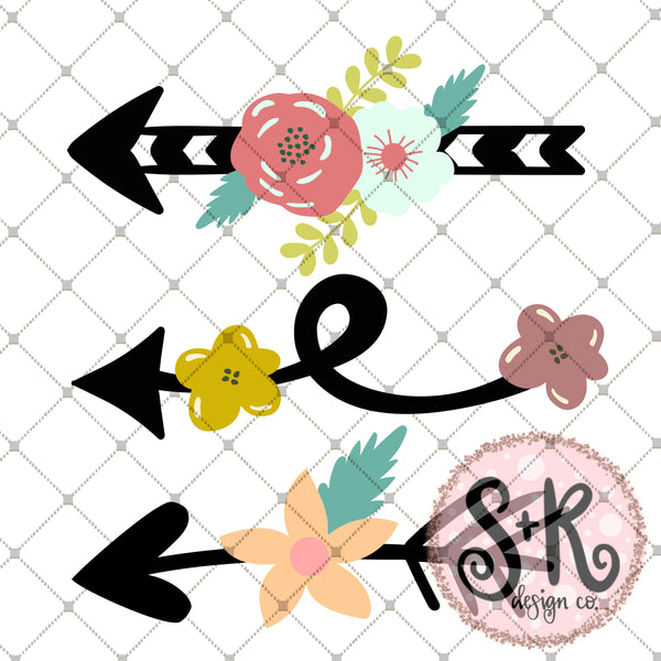 FREE Floral Arrow Set SVG DXF PNG