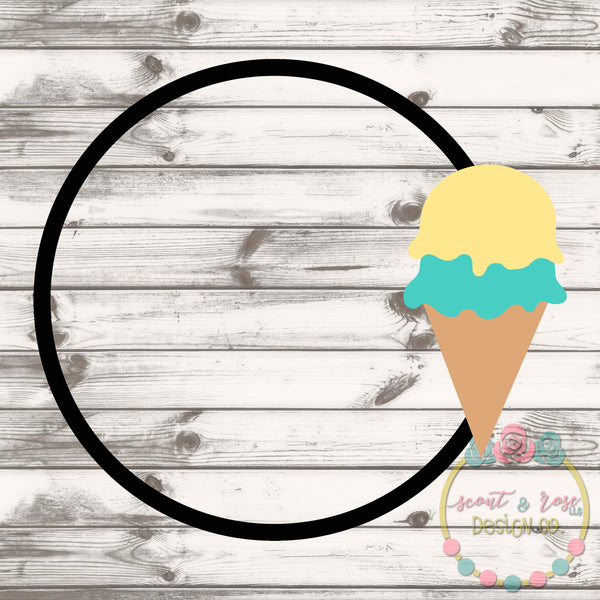 Ice Cream Cone Monogram Frame SVG DXF PNG