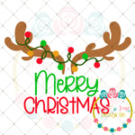 Merry Christmas Antler Lights SVG DXF PNG