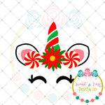 Christmas Peppermint Unicorn SVG DXF PNG