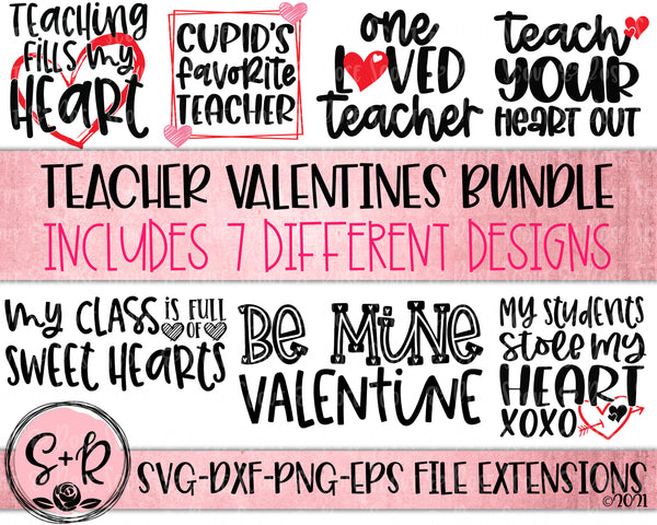 Teacher Valentines Day SVG Bundle SVG DXF PNG EPS (2021)