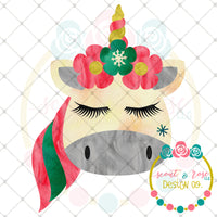 Christmas Unicorn Printable Design