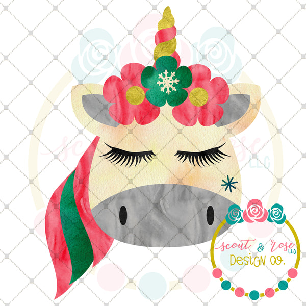 Christmas Unicorn Sublimation Design