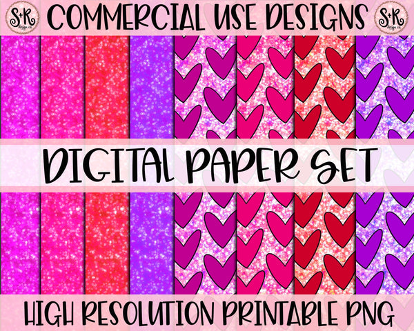 Valentines Day Glitter Digital Paper Set (2019)
