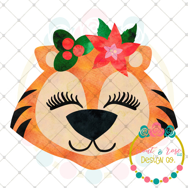Christmas Tiger Sublimation Design