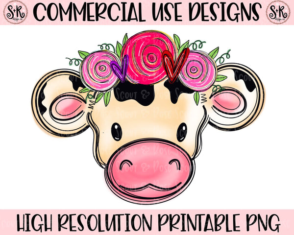 Valentines Day Baby Cow Printable Design (2019)