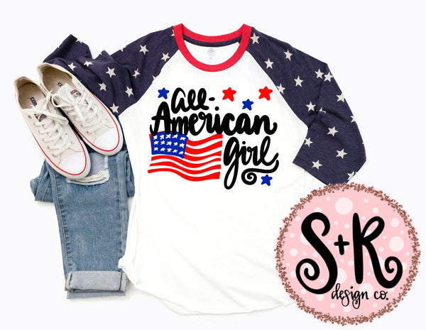 All-American Girl Patriotic SVG DXF PNG (2019)