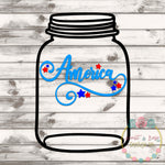 America Mason Jar Rolled Flower Set SVG DXF PNG
