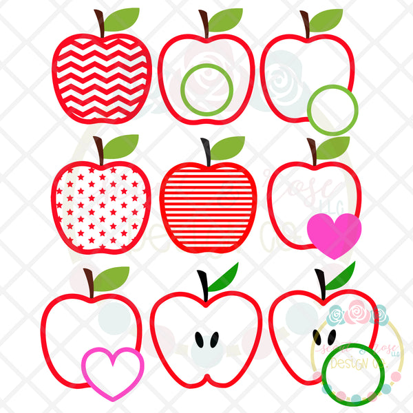 Apple Set 1 SVG DXF PNG