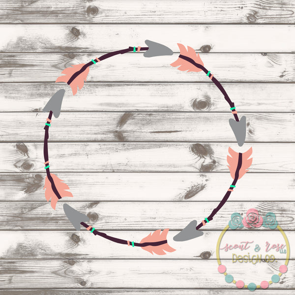 Arrow Boho Monogram Frame SVG DXF PNG