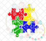 Autism Puzzle Grunge SVG DXF PNG