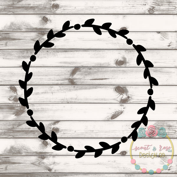 Floral Wreath Monogram Frame SVG DXF PNG