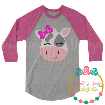 Baby Cow Farm Girl Cut File SVG DXF PNG