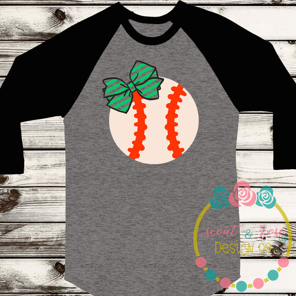 Baseball/Softball with Bow SVG DXF PNG